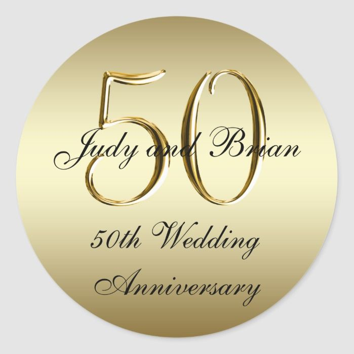 Gold Black 50th Wedding Anniversary Stickers Zazzle Com 50th Wedding Anniversary Wedding Anniversary 50th Anniversary Favors