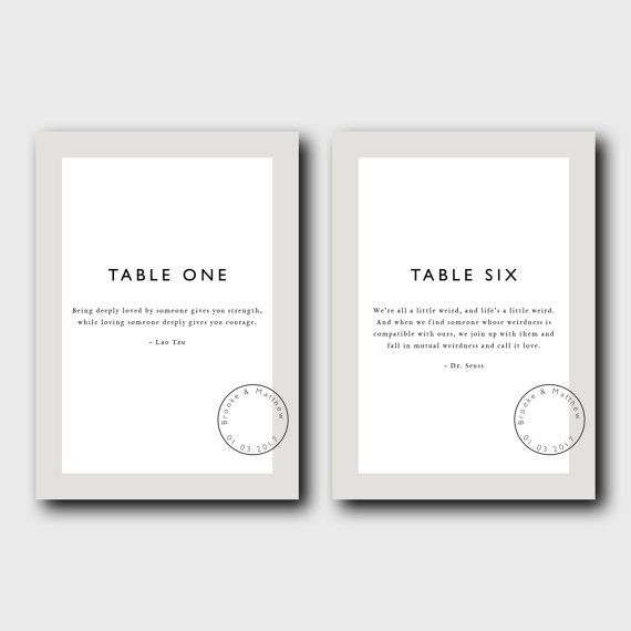 Table Numbers 1 - 10 with love quotes & custom stamp | DIY print | Wedding numbers