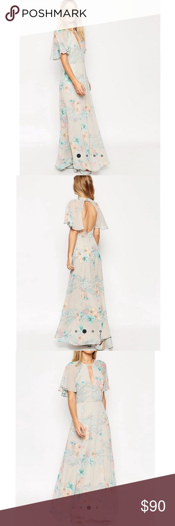 ASOS 70s Faded Floral Flutter Sleeve Maxi Dress Gorgeous flutter sleeve maxi dress with faded 70s floral pattern! Perfect for a summer wedding or evening out! Brand new with tags! Re-posh :) I bought for a wedding and ended up wearing something else. Dress is 😍😍👌🏻✔️ OPEN TO OFFERS ✔️ ASOS Dresses Maxi