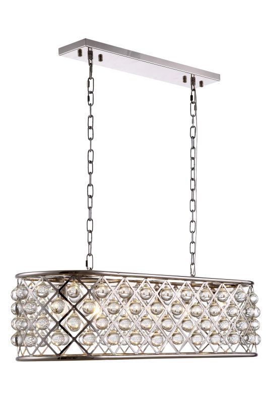 """Buy the Elegant Lighting 1215G40PN/RC Polished Nickel Direct. Shop for the Elegant Lighting 1215G40PN/RC Polished Nickel Madison 6 Light 40"""" Wide Cage Style Linear Chandelier with Crystal Drop Accents from the Urban Classic Collection and save."""