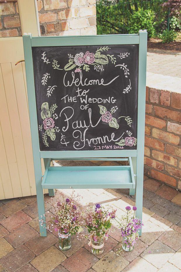 pastel chalkboard wedding ceremony sign | www.onefabday.com