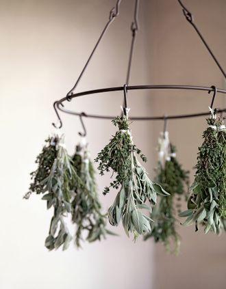 Raumdekoration aus Kräutern – dried herbs chandelier – www.weddingstyle.de
