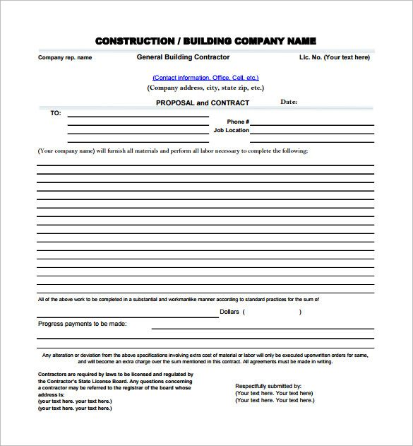 Construction Proposal Template 17 Free Word Excel Pdf Format