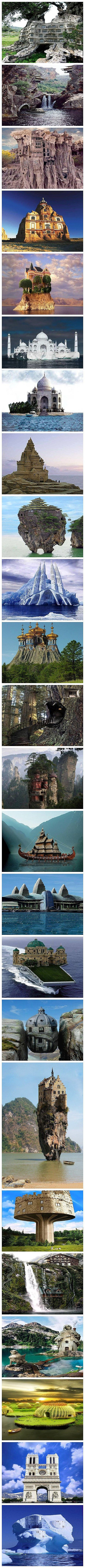 24 amazing buildings around the world? interesting photoshops - several photos you can definitely tell are not real so I'm guessing all of them are altered.