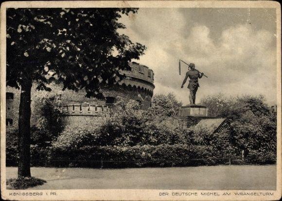 Ak Kaliningrad Königsberg Ostpreußen, Der deutsche Michel am Wrangelturm