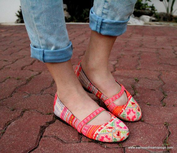 Ethnic Hmong Embroidered and Batik Womens Ballet Flats Shoes. $40.00, via Etsy. - these are gorgeous!