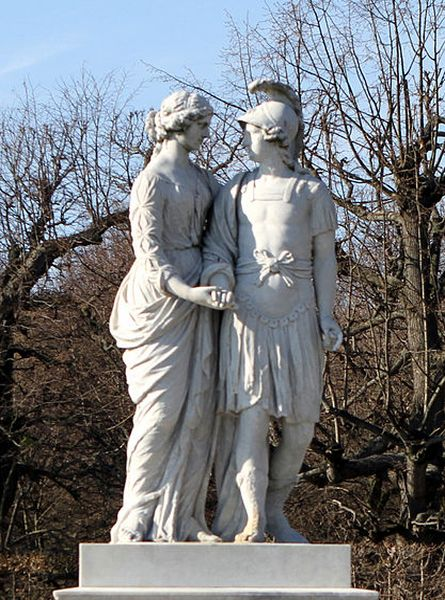 Alexander of Macedon and his mother Olympias of Epirus.  The sculpture of these two Greeks is part of a series of sculptures in the Schonbrunn Garden at Schonbrunn Palace in #Vienna, #Austria