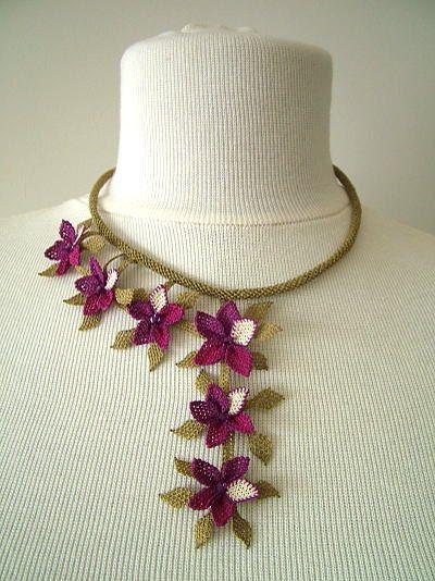purple floral bib necklaceCrochet NecklaceCrochet by needlecrochet, $65.00