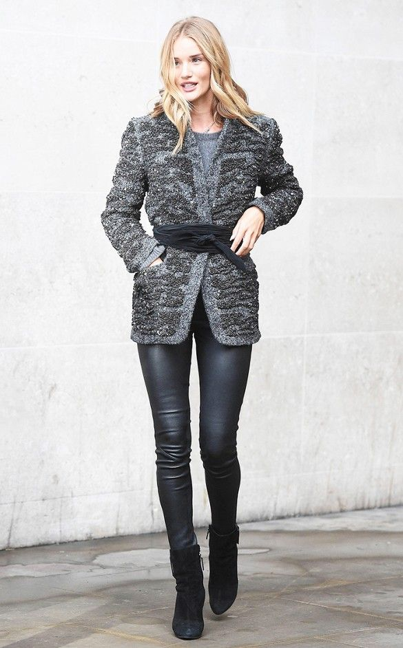 Rosie Huntington-Whiteley in liquid leggings, a textured jacket pulled together with a judo belt and black ankle boots