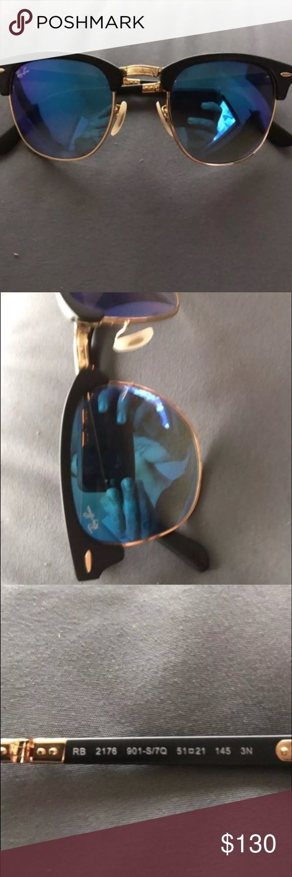 New 100% authentic ray ban clubmaster sunglasses Brand new never worn comes with case and polishing cloth ex bought them for me and just not my style nor do I want a reminder of her. Priced to sell! No low ball offers! Ray-Ban Accessories Sunglasses