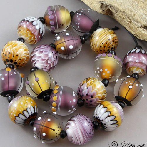 Magma Beads ~Violet & Amber minis~ Handmade Lampwork Beads. #Lampwork