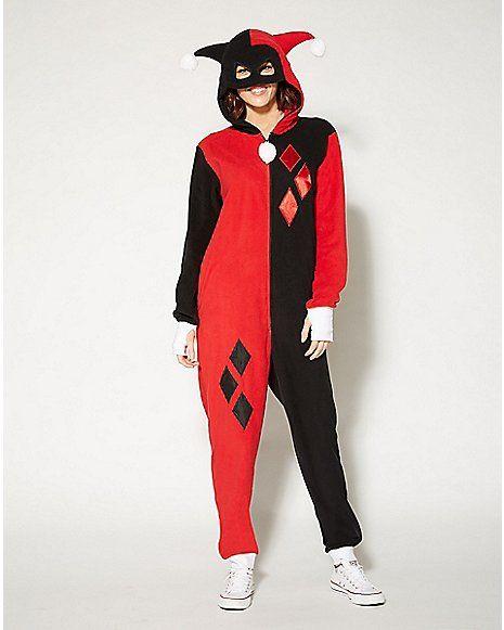 Harley Quinn Dropseat Hooded Adult Onesie Pajamas - Spencer's