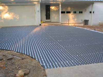 Closeup Of Flexible Porous Pavers Installed On Driveway