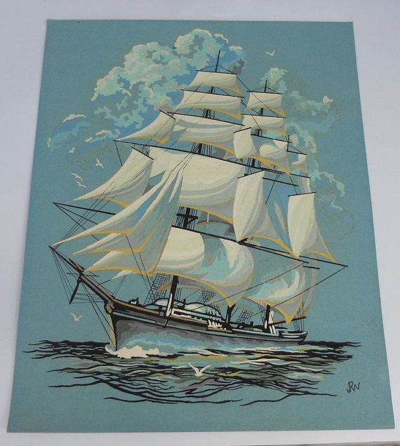 vintage paint by numbers tall ship nautical art 16 quot x 20