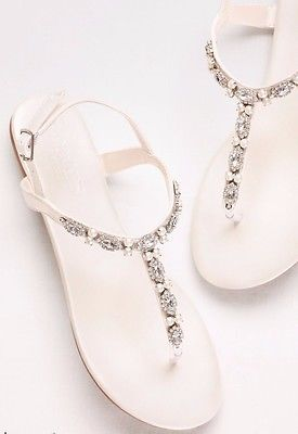Pearl & crystal ivory sandals - wedding or beach
