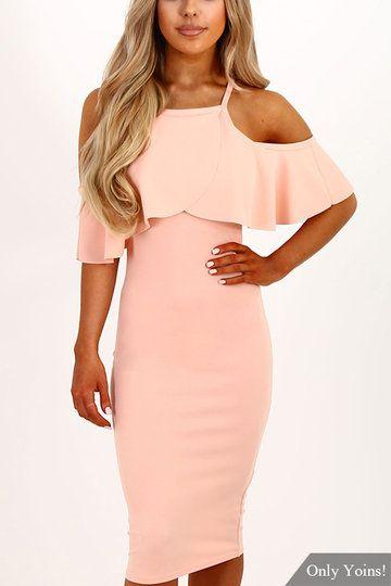 Pink Cold Shoulder Tiered Dress