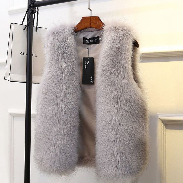 Women Winter Solid Color Faux Fur Thicken Soft Warm Casual Korean Chic Vest Coat #vestswomens