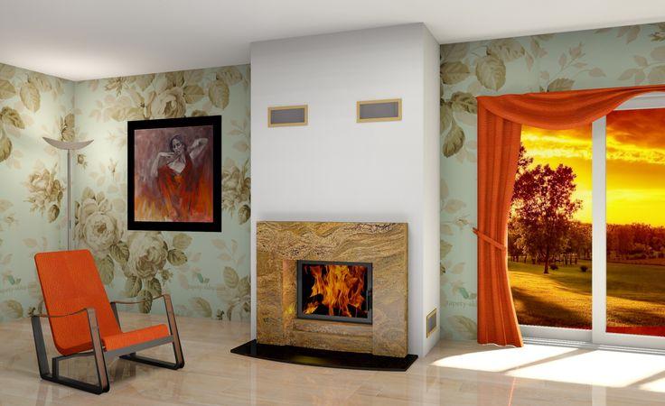 Projekt kominka na bazie wkładu kominkowego Hajduk #fireplace #concept #architecture #kominek #ogrzewanie #Hajduk