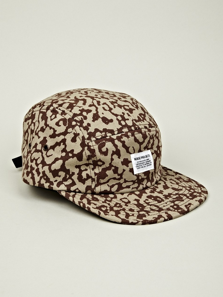 Norse Projects Men's 5 Panel Camo Print Cap in camouflage