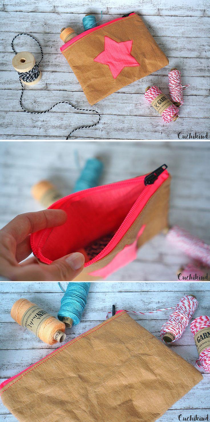Nähen mit Snap Pap. Kleine Kosmetiktasche aus Shirt-Stoff und Lederimitat. Sewing with Snappap.