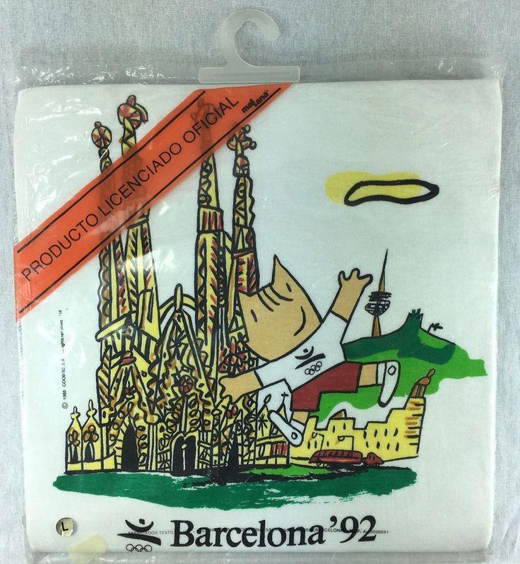 Barcelona Spain 1992 Olympics T Shirt Cobi Mascot Gaudi Unisex Size Large New  #Massana