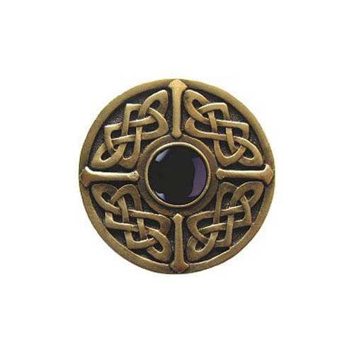 Notting Hill Decorative Hardware Antique Brass Onyx Celtic Jewel Knob
