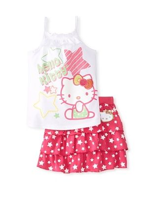 63% OFF Hello Kitty Girl's Ruffle Tank & Skirt Set (Fuchsia Purple)