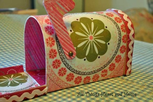 Cardboard shaped mailbox (hobby stores) covered with scrapbook paper