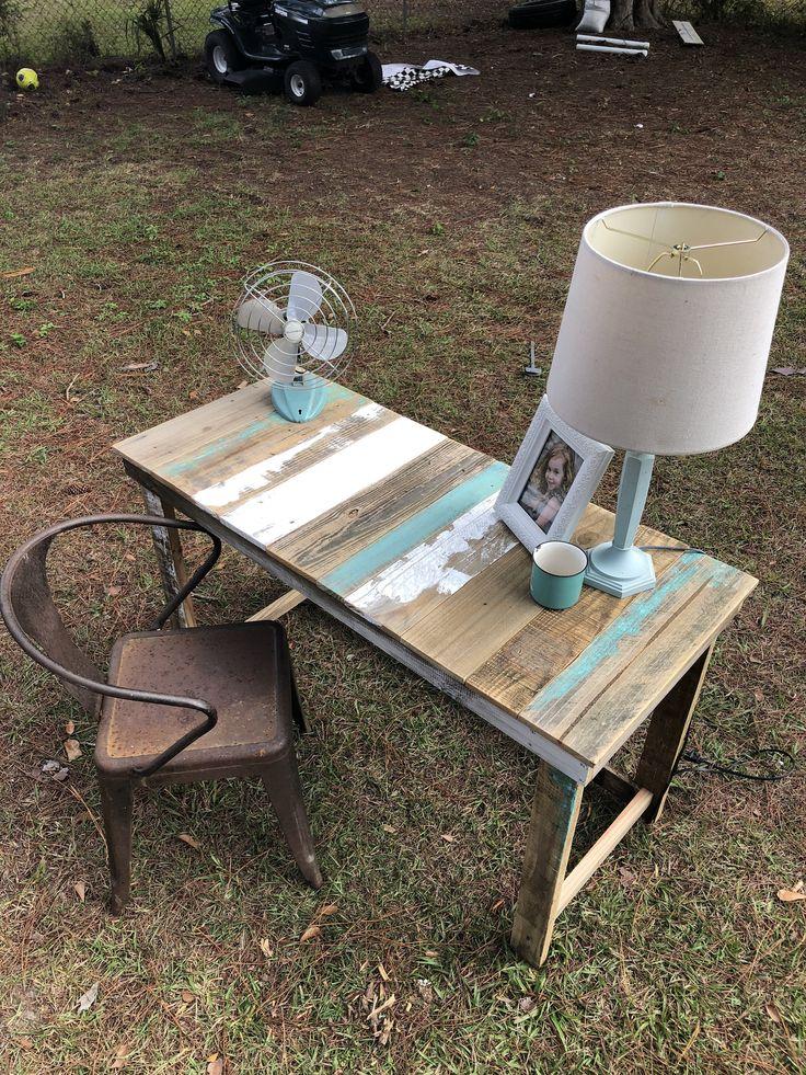 Farmhouse style chippy paint turquoise white writing desk
