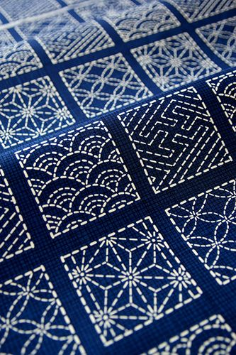 I think this would work in Tunisian crochet simple stitch with embroidery!!!  I will try this for sure!  THE SASHIKO.  Traditional Japanese fabric embroidery. Beautiful!