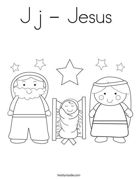 J j - Jesus Coloring Page - Twisty Noodle - love this site ...