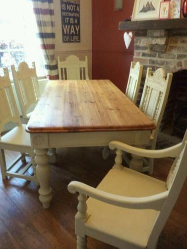 6ft shabby chic pine farmhouse table and 6 chairs handpainted in annie sloan ebay