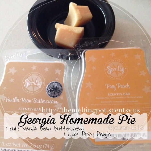 Happy Mixable Monday! Let's start this week off with something sweet as pie! Take 1 cube Vanilla Bean Buttercream & 1 cube Posy Peach .. I warmed this over the weekend and it smelled like homemade peach pie. #yummy #scentsy #scentsyrecipe #georgia #pie #peach wicklessheather.com