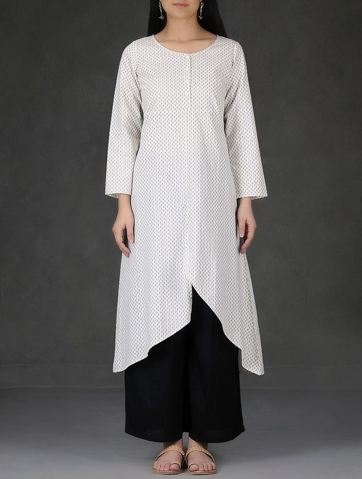 Buy Ivory vy Asymmetrical Hem Printed Cotton Kurta Women Kurtas Online at Jaypore.com