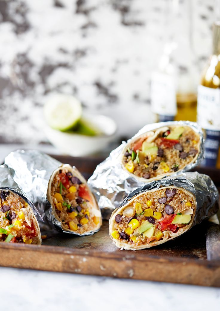 A vegan burrito recipe, rammed with tomatoes, black beans, sweetcorn, lime, coriander, avocado and red chilli. It's a super lunch idea, ready in 30 minutes