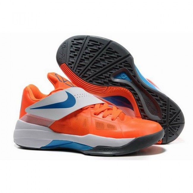 Cheapest Nike Zoom Kevin Durant New KD IV Men Orange/White Basketball Shoes  1009 $65.7