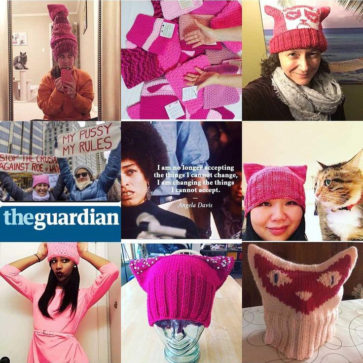 """Knitters across the country are making cat-ear """"pussyhats"""" for the Women's March."""