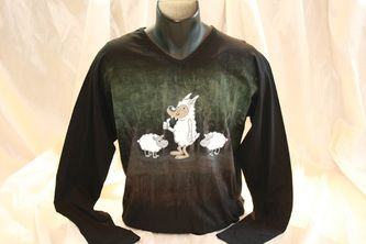 Hand painted, cotton fabric men's long sleeved  t-shirt, using non-toxic, water…