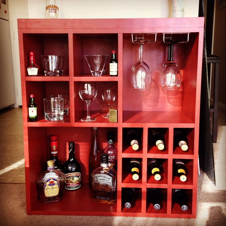 Diy Liquor And Wine Cabinet With Wine Glass Rack Wine
