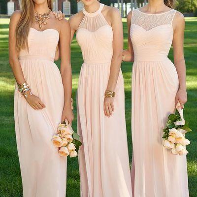 A177 simple long bridesmaid dresses, skin pink chiffon prom dresses, zipper long prom dresses