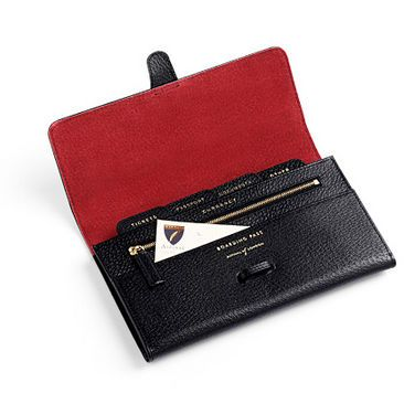 Classic Travel Wallet in Black Jewel & Red - Aspinal of London - Luxury English Lifestyle