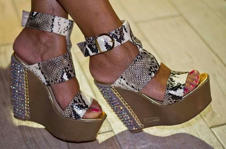 AMARANTI crystal summer wedges worn by one of our customers