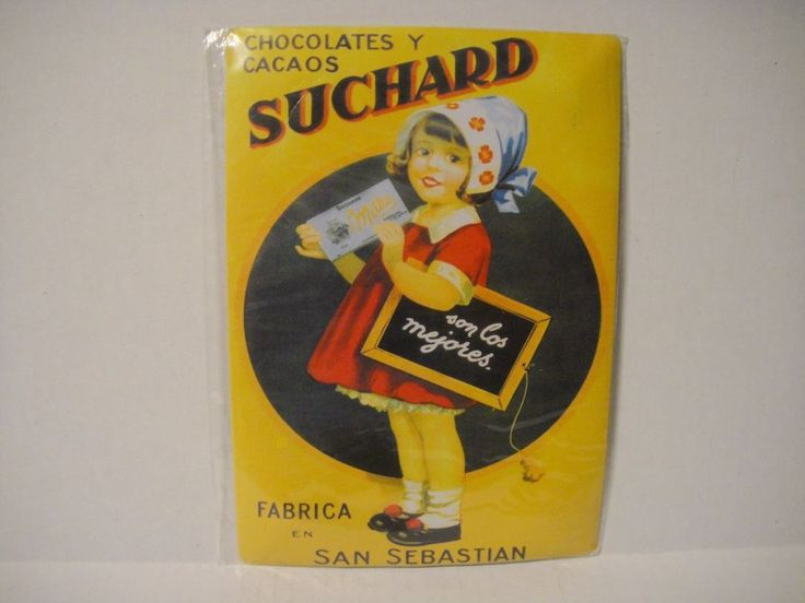 French Advertising Sign  Little Girl Suchard Chocolate Yellow Red San Sebastian #Suchard