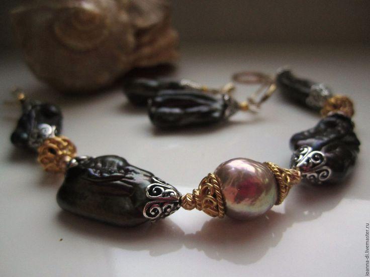 """Купить Браслет """"Венецианский переполох"""" - золотой, Эксклюзивный браслет, экслюзивная вещица, браслет из жемчуга"""