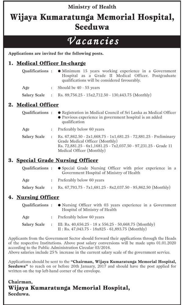 Sri Lankan Government Job Vacancies at Wijaya Kumaratunga Memorial Hospital for Medical Officer In-Charge, Medical Officer, Special Grade Nursing Officer, Nursing Officer