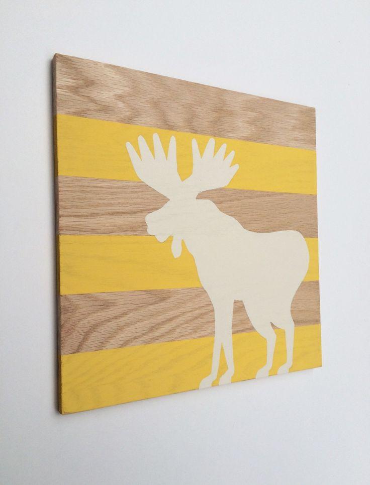 Hand Painted Woodland Nursery Art - Moose Decor - Woodland Animals - Woodland Decor - Moose Painting - Nursery Wall Art - Moose Nursery by SweetBananasArt on Etsy