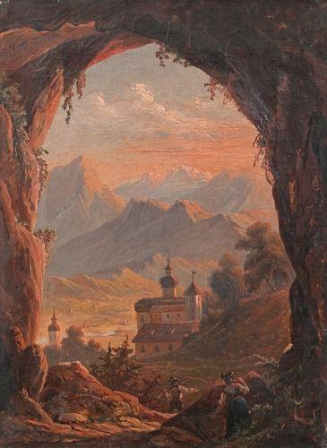 Robert Wilhelm Ekman 1808-1873 LUOSTARI VUORISTOSSA, öljy kankaalle