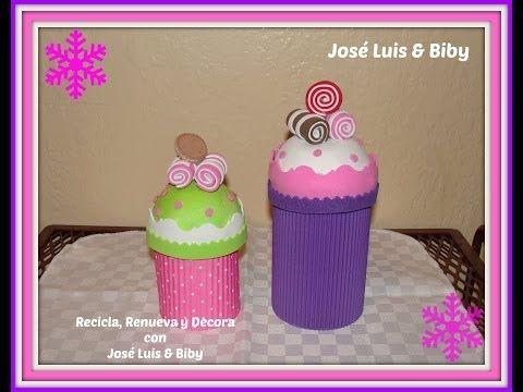 DIY- DULCEROS NAVIDEÑOS CUPCAKES con material reciclado / candy holders - YouTube