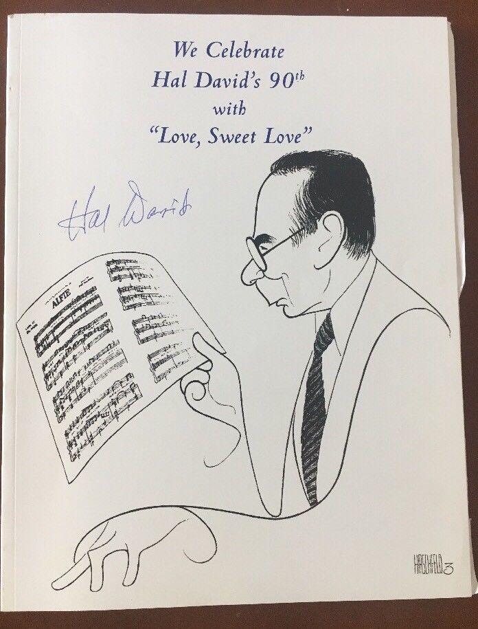 Hal David Signed Program Lyricist Movies & Broadway Hirschfeld Cover ...