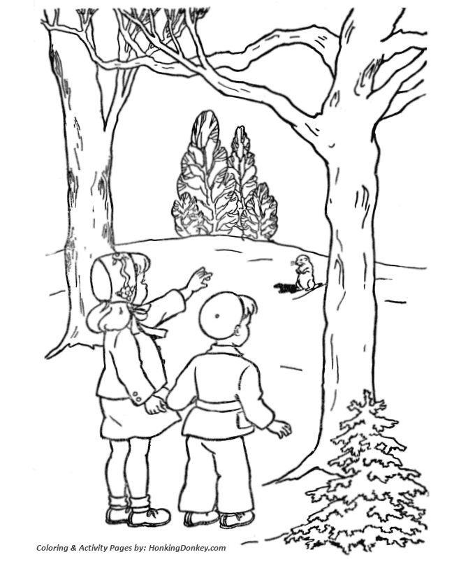 Groundhog Day Coloring Pages - Girl and Boy see a Groundhog